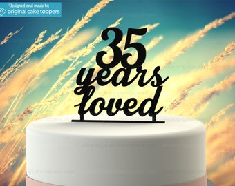 "35th Birthday Cake Topper - ""35  Years Loved"" - BLACK - OriginalCakeToppers"
