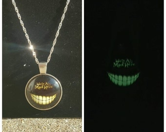 Glow in the dark Cheshire cat smile necklace