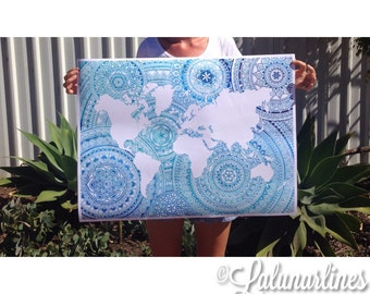Ombre Oceans Mandala World Map Print