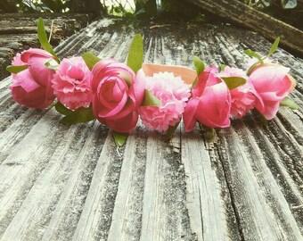 Pretty in pink flower crown