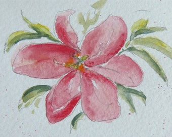 "Flower painting - Original Miniature Watercolour & Pastel Painting, ""Lily"", ACEO, Floral, Flower, Lily, Flower Decor, Home Decor, Gift Idea"