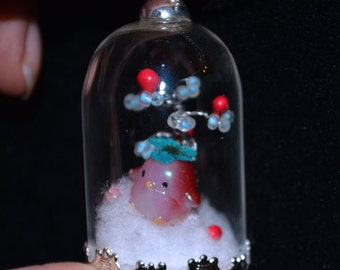 "Globe Glass Pendant Necklace ""Penguin Magic Forest"""