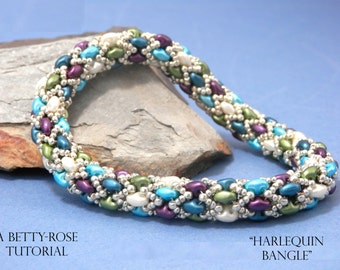 Tutorial for Harlequin Bracelet Bangle made with SuperDuo beads Instant Download PDF Beading Pattern