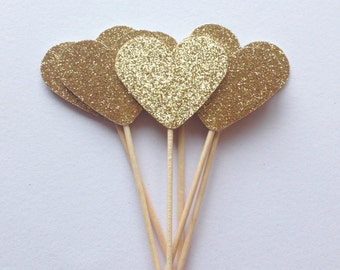12 Gold glitter cupcake toppers