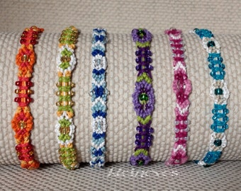 Small beaded macrame bracelets, colorful, hemp