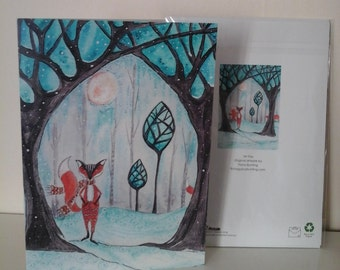 fox greeting card,whimsical fox card,folklore greeting card,folklore,folkart,fox art,blank greeting card,fox card,animal greeting card,trees