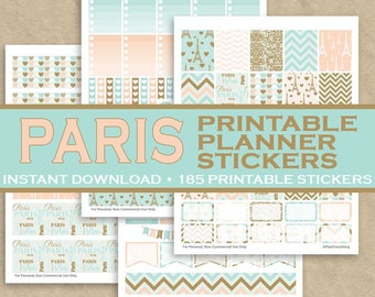 Bonjour Paris Printable Planner Stickers - 185 Printable Stickers - Blue & Peach - Instant Downloadable Letter Size PDF