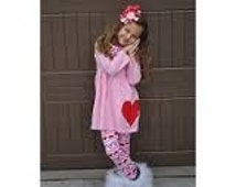Girls and Dolls Valentine Outfits - Pink Hearts Matching Valentine's Day 3 Piece Outfits Aztec Legging and Infinity Scarf and Pink Tunic Top