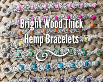 Bright Wood Thick Hemp Bracelets