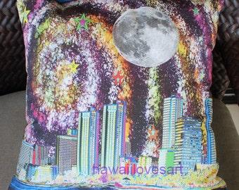 Waikiki Moon Hawaii Art throw pillow cover - digital design