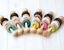Baby Toys - Baby Rattle - Wooden Baby Rattle - Wood Rattle - Crochet Rattle - Montessori Baby - Wooden Baby Toys - Unique Baby Shower Gift