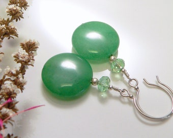 Green Rabbit Jade and Glass Crystals with Sterling Silver Findings.