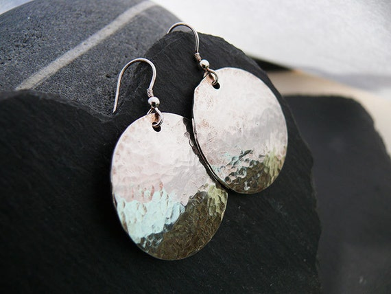 Luxury Large Hammered Sterling Silver Disc Earrings - Handmade in Wales - Hammered Dangle Disc Earrings - Sterling Silver Hammered Earrings