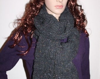Hat and scarf, knit, grey, set 1