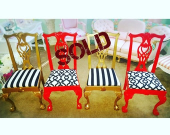 Navy chair Red with white and blue or gold chair black and white stripes