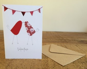Handmade Valentine's Card, Love Birds & Bunting Valentine card