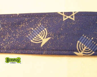 "Hanukkah Greyhound Martingale Collar 2"" Wide Fabric Lined"