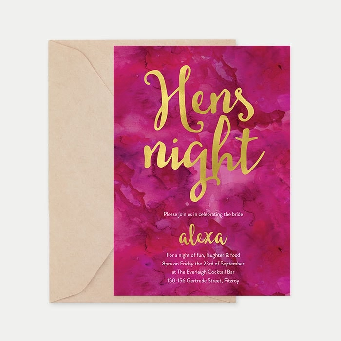 Hens night invitations, Pink bridal shower invitations, Hens invitations, Hens party, Watercolour invitations, Hens invites, Hens day