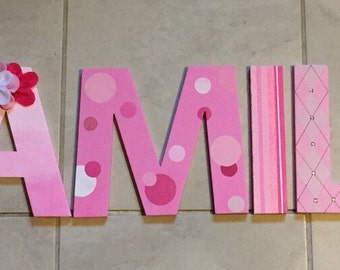 Pink personalized name letters