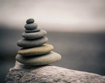 Stacked Rocks Fine Art Photography Print, Wall Art, Ocean, Beach, Pacific Northwest, Rocks, Ocean Photography, Megan Peterson Photography