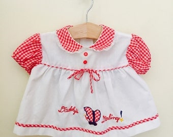 Vintage Baby Girls Dress Red Gingham, Red White and Blue Baby Dress, Size 6 Months, Summer Baby Dress, Summer Baby Clothes, Fourth of July