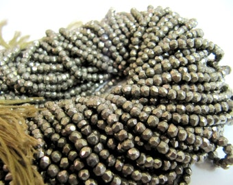 Natural Pyrite Beads Size 3 to 4mm Rondelle faceted Beads String 13 inch long Sold Per String