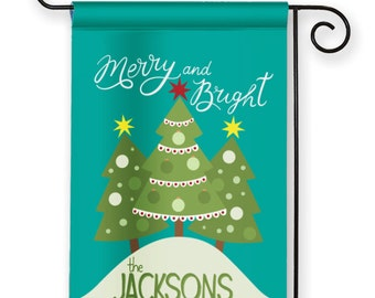 Merry and Bright Personalized Christmas Tree Holiday Winter Garden Flag Yard Sign Banner Decor Decoration Personalize with your Family Name