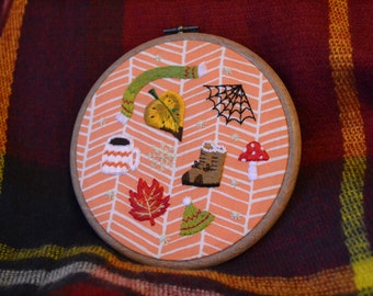 Autumnal/winter embroidery hoop art