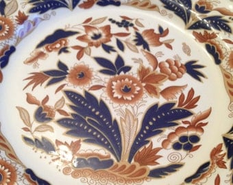Antique (c.1910s) Booth's Dovedale Rust and Blue Imari dinner plate. Cobalt, rust and gold.
