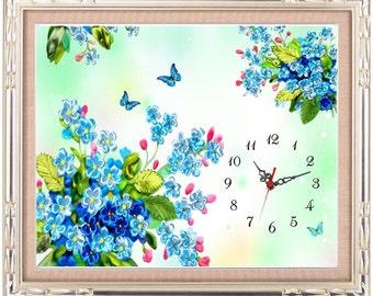 RB3-Blue Ribbon flower Clock