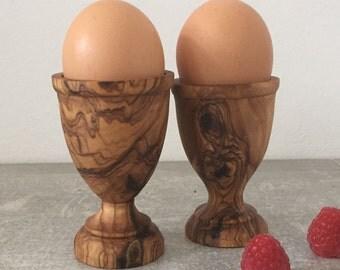 Rustic Olive Wood Egg Cup set, Wooden egg holder set, olive egg holder, gift idea