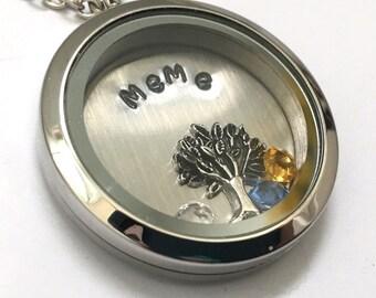 MEME - Plain Silver Edge or Custom Floating Charm Locket - Memory Locket - Custom Hand Stamped Gift for Mom or Grandma