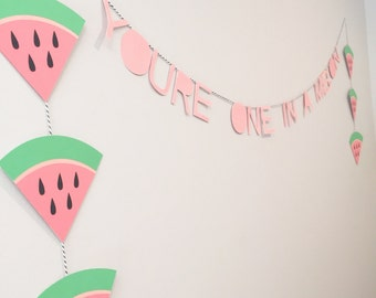 Watermelon Banner//You're One in a Melon Bunting