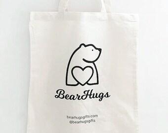 BearHugs Canvas Tote Bag - Bear Hugs - BearHugs Gifts - Cute Polar Bear, Heart, Cotton Re-usable Eco Bag
