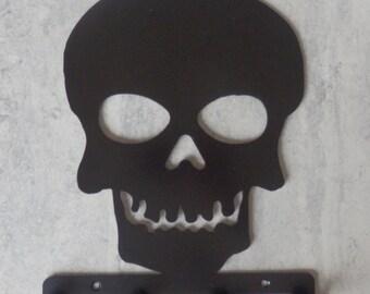Skull Silhouette Key Hook Rack - metal wall art