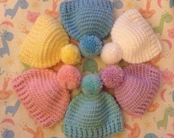 Crocheted Baby Beanie Hat With Pom Pom