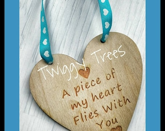 Memory Rememberance Plaque Mum Mother   Engraved  Keychain Gift wooden sentimental wall hanging A Piece of my heart flies with you