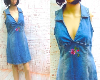 80's GUESS MINI DRESS..HOng KOng Denium ,Sundress,Strapless,Halter