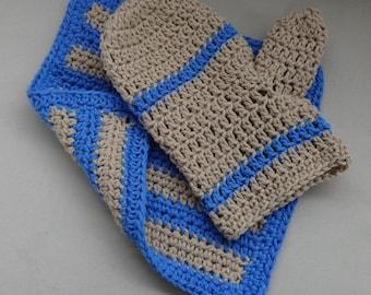 Bath Set - Blueberry Cotton Crochet Bath Mitt and Wash Cloth