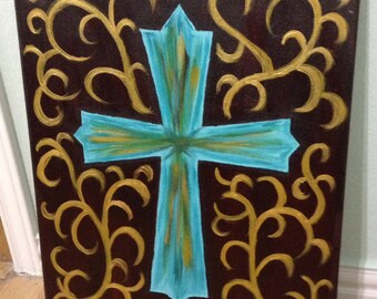 16x20 Turquoise cross, canvas painting
