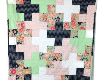 Modern baby quilt, toddler quilt, baby blanket, plus quilt,  made to order,  patchwork,  minky, navy, white, flower , peach, mint green