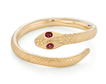 9ct yellow gold Serpent Crossover Ring with red ruby eyes