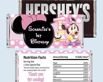 Baby MINNIE MOUSE  Candy Bar Wrapper, Hershey Bar Wrappers, 1st Birthday, PRINTABLE