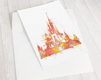 "Disney Castle wedding Invitation, Cinderella's castle Fairy tale Wedding, Disney wedding invitation cards, custom 5""x7"" cards, ET323"