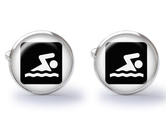 Cufflinks - Swimmer Cufflinks - Swim Sign Cuff Link - Swim Cufflink - Lifeguard Cuff Links (Pair) Lifetime Guarantee (S0545)