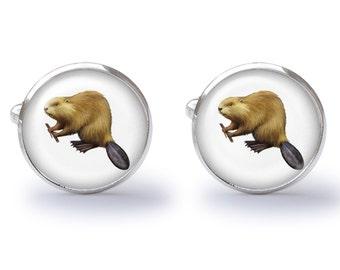 Brown Beaver Cufflinks - Beaver Cuff Links (Pair) Lifetime Guarantee