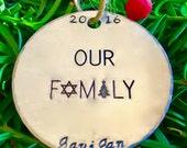 Jewish Family Hanukkah Decoration/Fusioned Family/Christmas Ornament/Chanukah Decoration/Hanukkah Decor/Gift for Jewish Family/Our Family