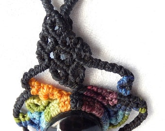 "Rainbow Obsidian necklace, collection ""Guacamaya""."