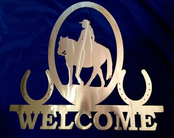 Metal Rider & Horse Shoe Welcome Sign