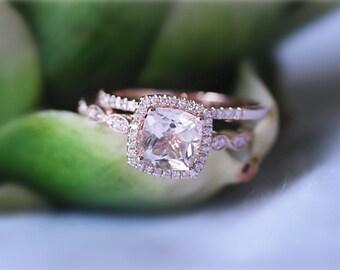 14K Rose Gold Cushion Cut Morganite Ring Set Bridal Wedding Ring Diamond Half Eternity Ring Matching Wedding Ring